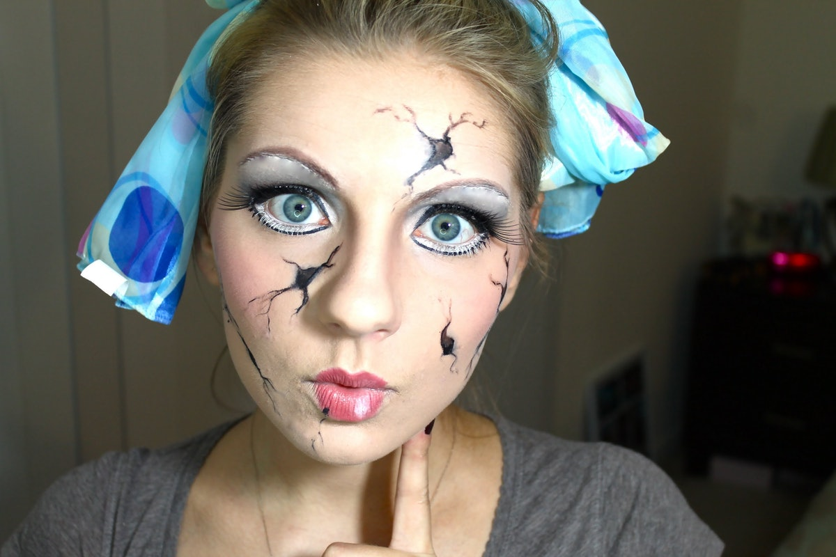 Макияж на хэллоуин кукла