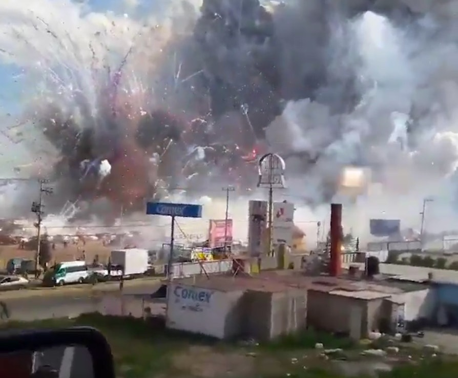 Video from a drone over site of the fireworks explosion in Mexico