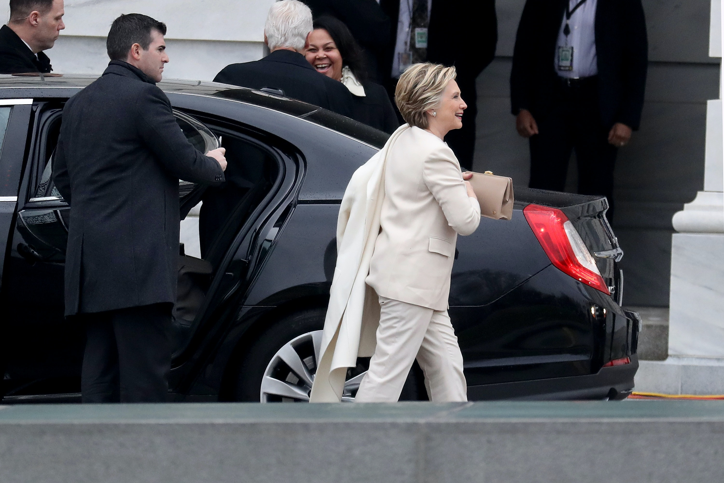 Hillary Clinton's Inauguration Outfit: Looks Beautiful & Chic In White Pantsuit