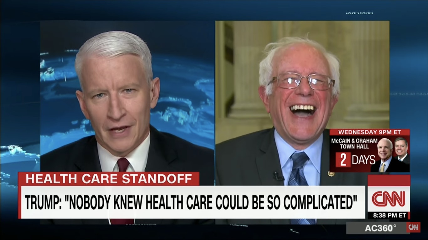Bernie Sanders Had A Priceless Reaction To Trump Saying Nobody Knew Healthcare Is Hard                  Source   CNN  YouTube