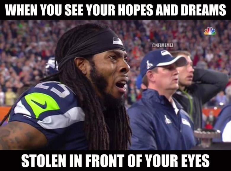 richard shermans reaction 24 hilarious memes to perfectly describe super bowl xlix,Patriots Losing Super Bowl Meme