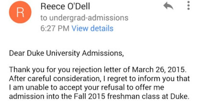 rejection thank you letter
