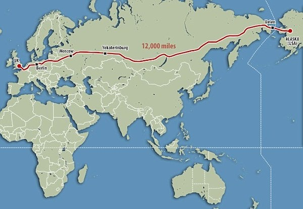 Plan For A Mile Road Would Connect The US Russia And Britain - Length of usa in miles