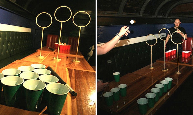 Quidditch beer pong is here to make house parties much for Table quidditch