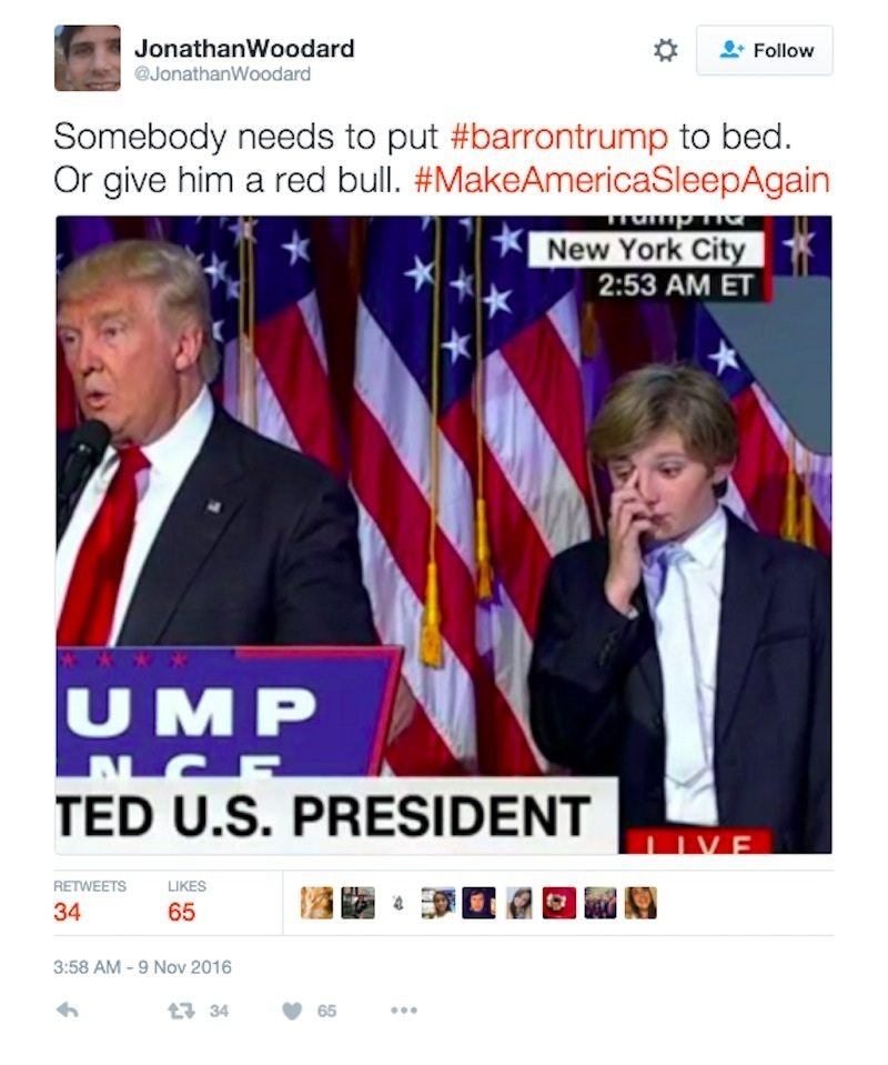barron trump tired during trump speech 1 donald trump's son couldn't stay awake during victory speech