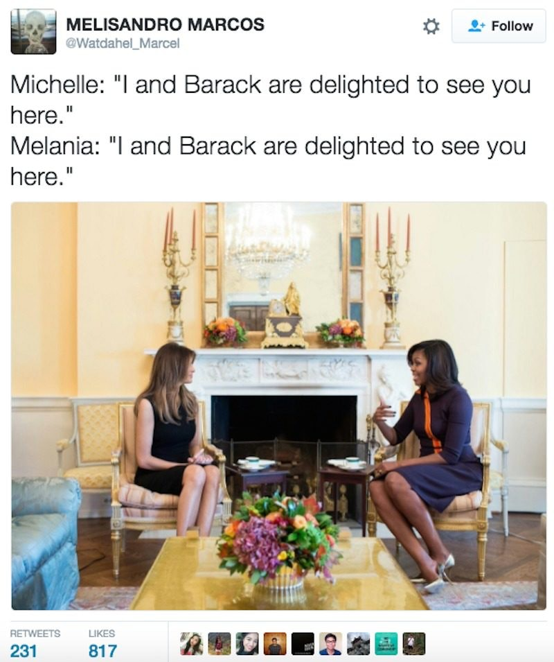 Melania Trump And Michelle Obama Have Awkward Meeting