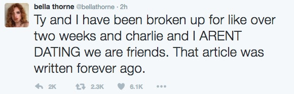 Bella Thorne Tweets About Tyler Posey And Charlie Puth Cheating Rumors