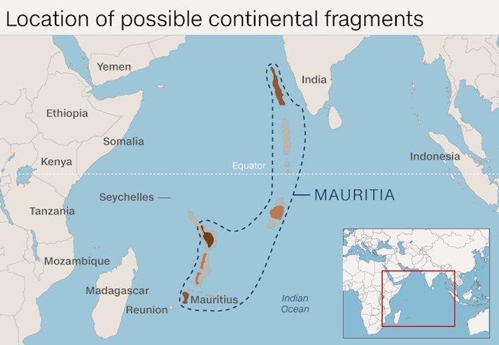 A New Continent Has Been Discovered Under Mauritius Island - Mauritius location in world map