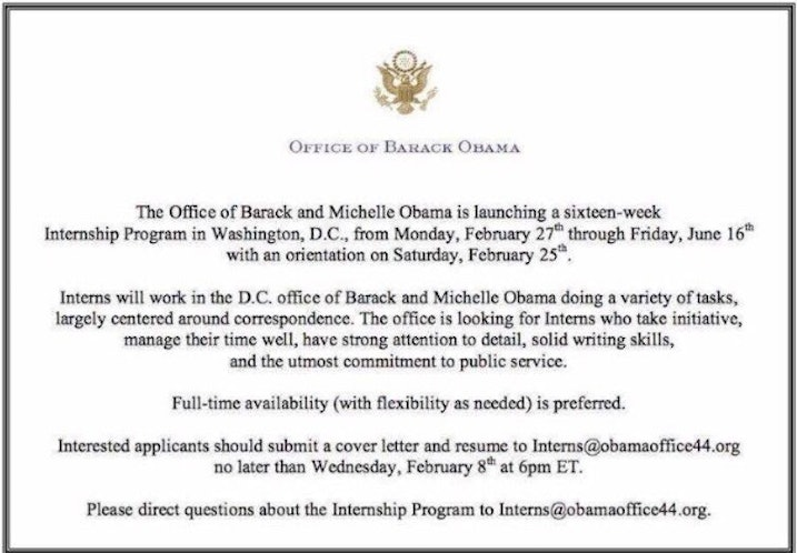 barack and michelle obama are hiring interns in dc