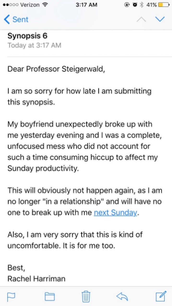 Professor Has Best Reply Ever For Breakup As A Late Excuse