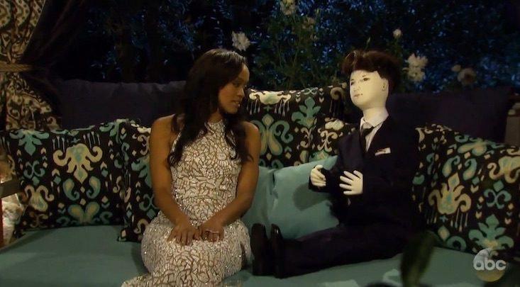 Adam From Bachelorette Brings AJ The Doll To Meet Rachel