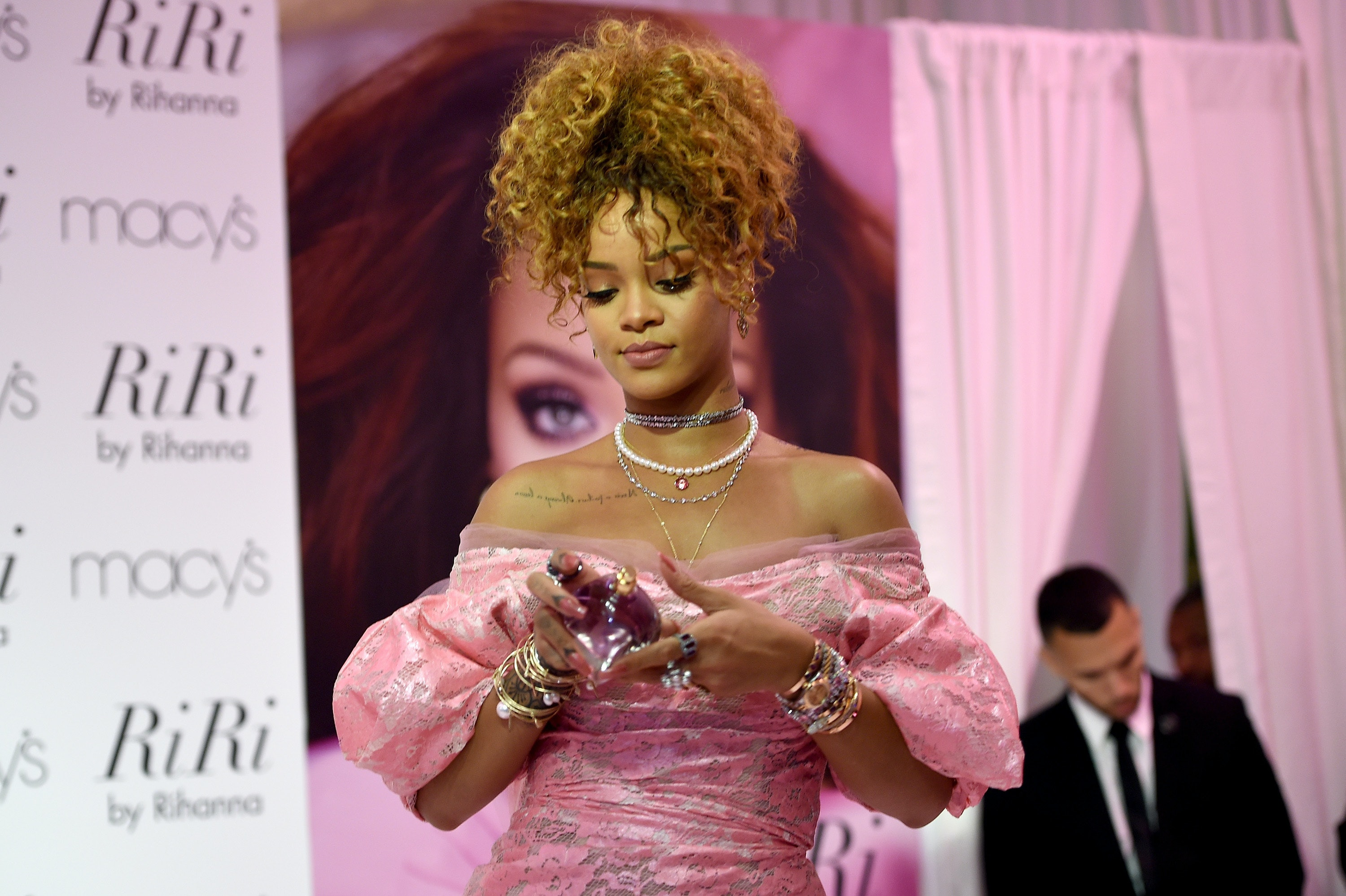Rihanna Channeled \'80s Prom Chic In Pink Dress At RiRi Fragrance Launch