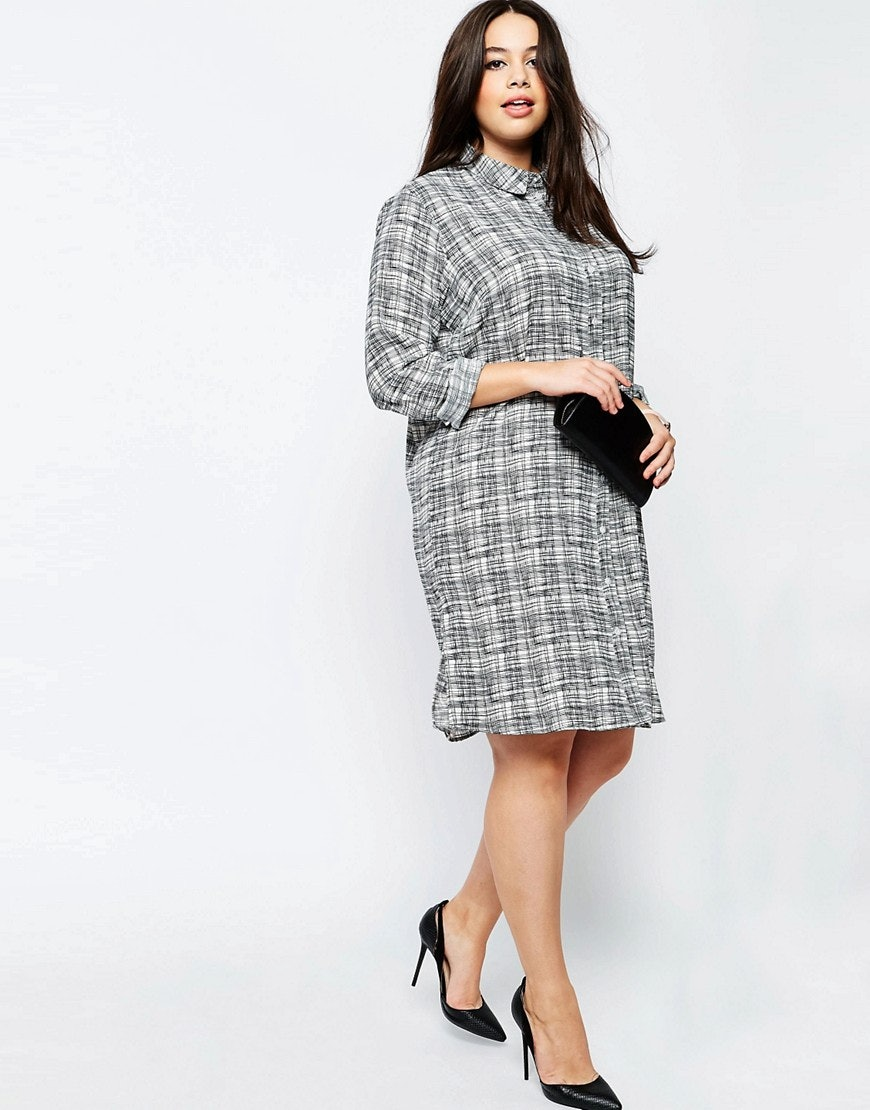 Washed Casual Shirt Dress - Charcoal Asos Curve 0PLkNxuQfd