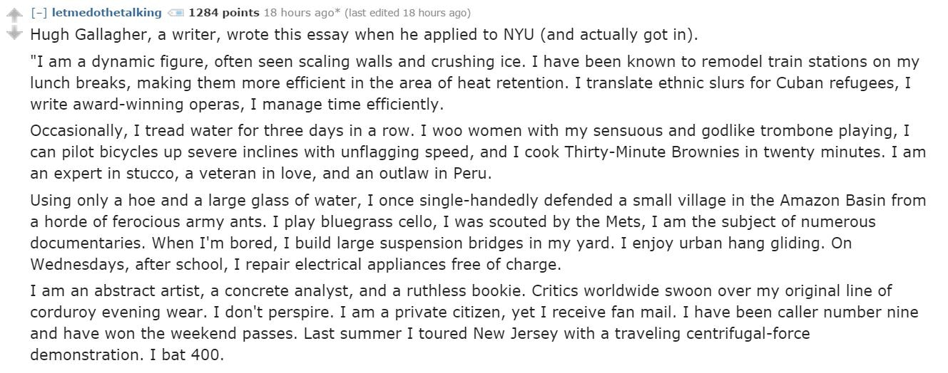 the most memorable college admissions essays reddit has ever seen  the most memorable college admissions essays reddit has ever seen will blow your mind