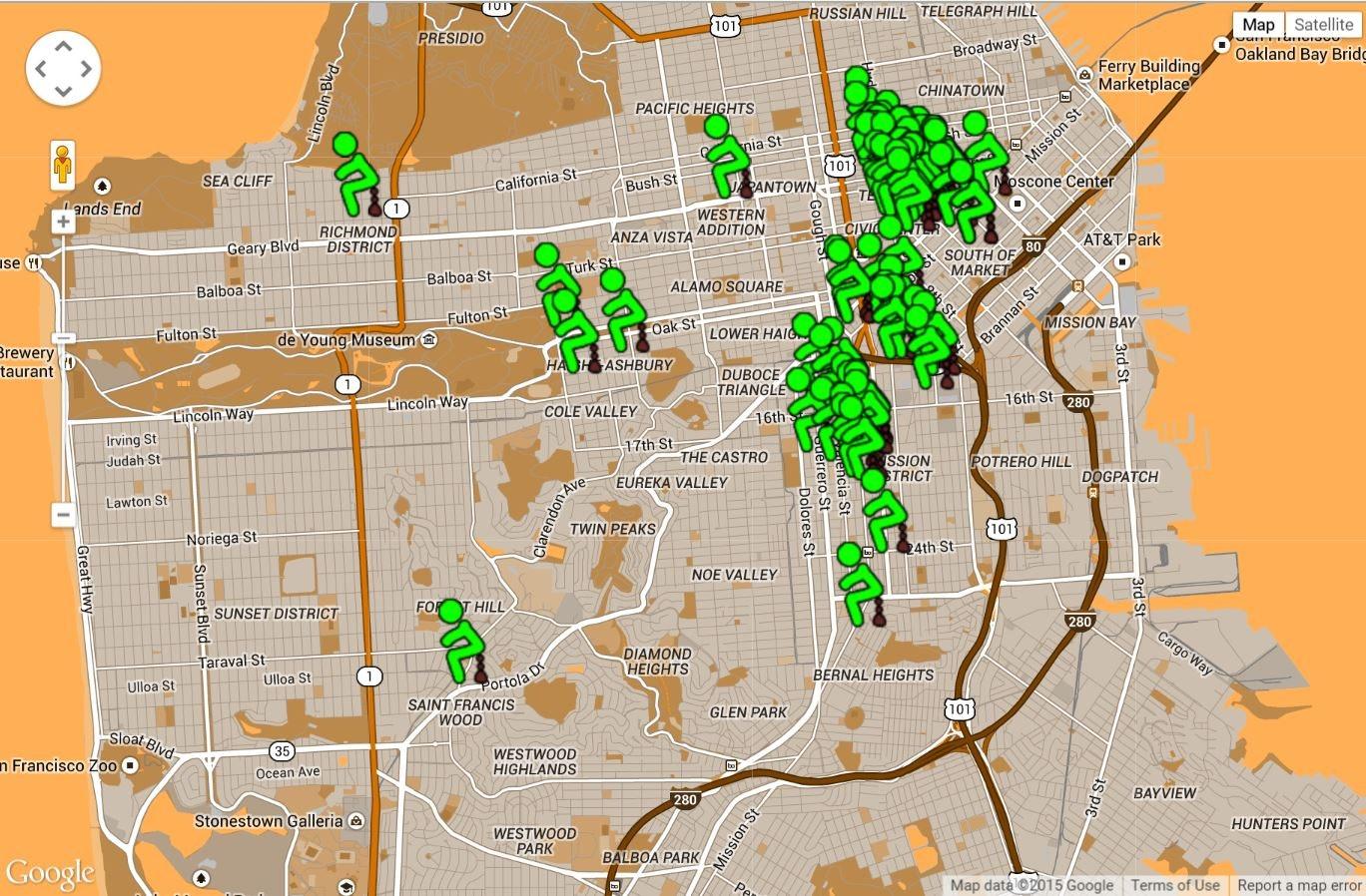 San Franshitsco Interactive Map Displays Instances Of Public