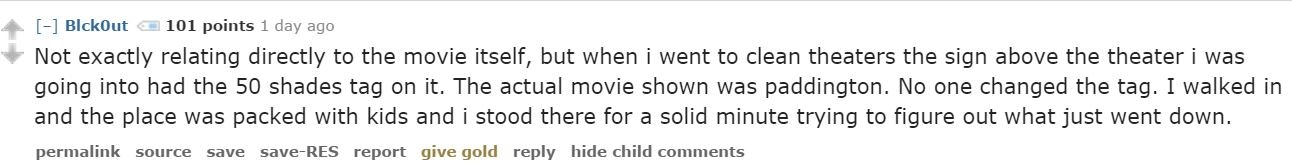 Fifty Shades Of Grey Au Nces Have Left Some Pretty Wild Things Behind According To Reddits Movie Theater Employees
