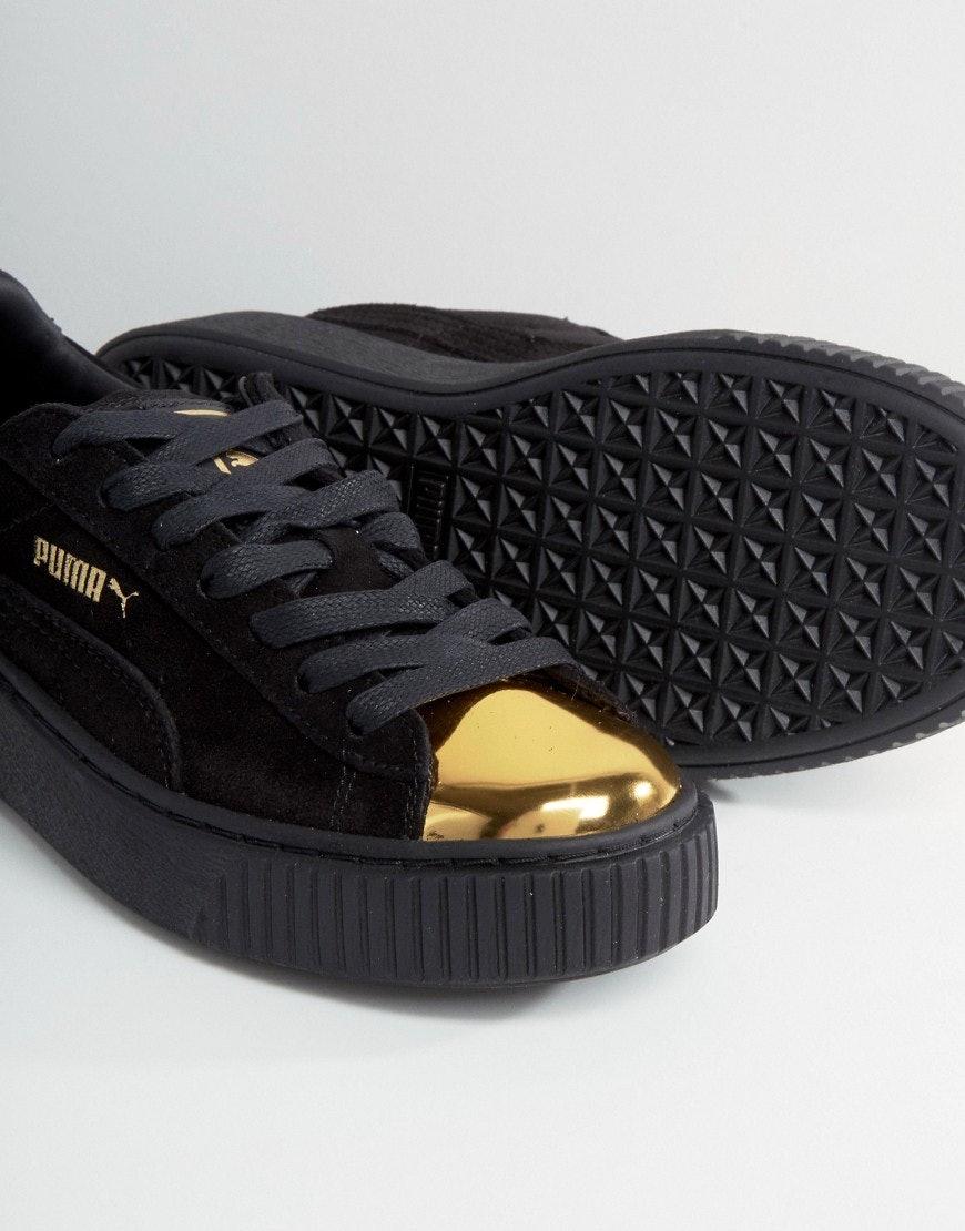 puma scarpe suede platform gold