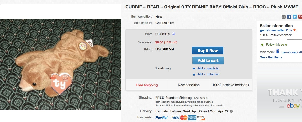 b0d5f102c48 How Much Are Beanie Babies Worth  The Princess Diana Bear Is Going For   30