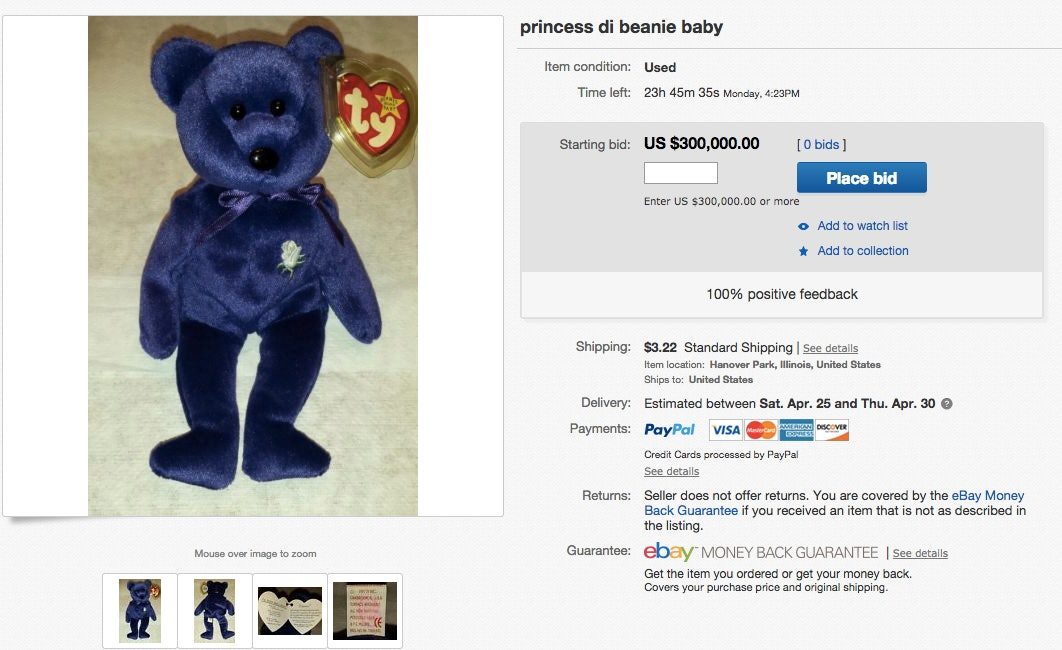 How Much Are Beanie Babies Worth  The Princess Diana Bear Is Going For   30 ec9c490bc4a