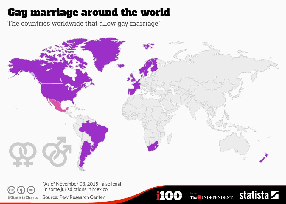 Where Is Marriage Legal? Statista's Map Shows The ... on map of europe, map of oceans, map of canada, map of united kingdom, map of hemispheres, map of world, map of africa, map of continents, map of germany, map of philippines, map of romania, map of states, map of greece, map of bangladesh, map of mexico, map of brazil, map of asia, map of country, map of italy,