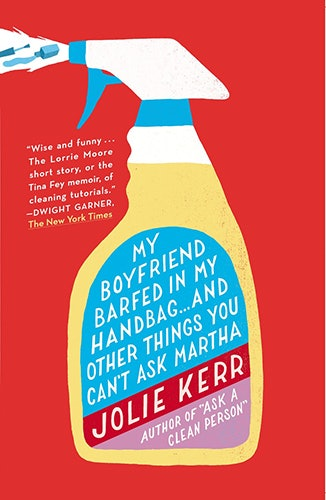 book cover: My Boyfriend Barfed in My Handbag. Title on the label of a spray bottle