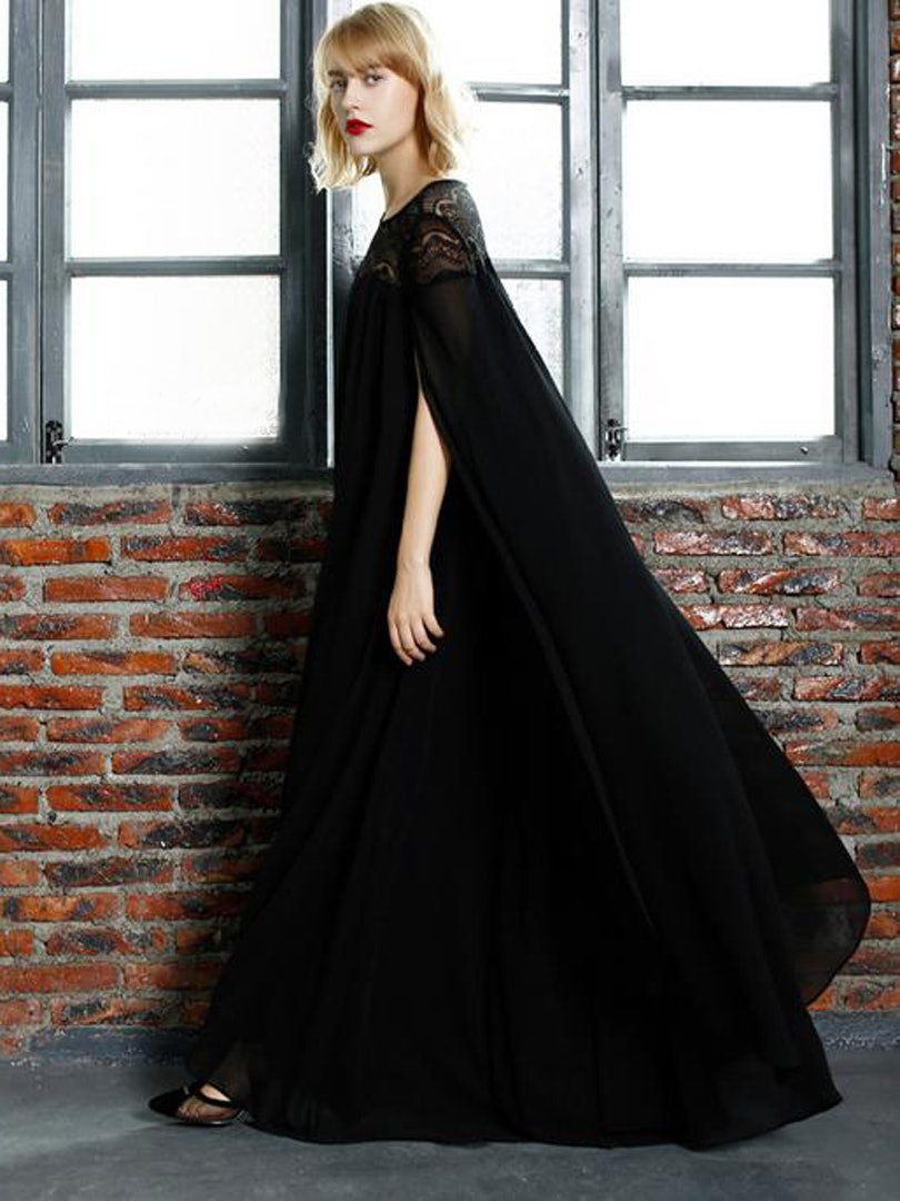Black Long Sleeve Maxi Prom Dress Raveitsafe