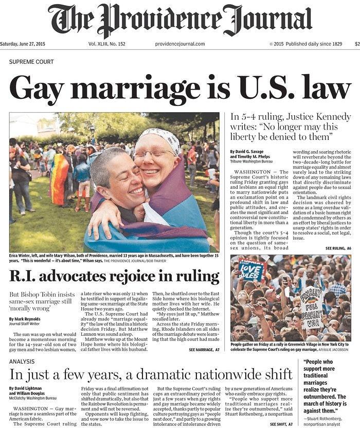 Homosexual marriage newspaper