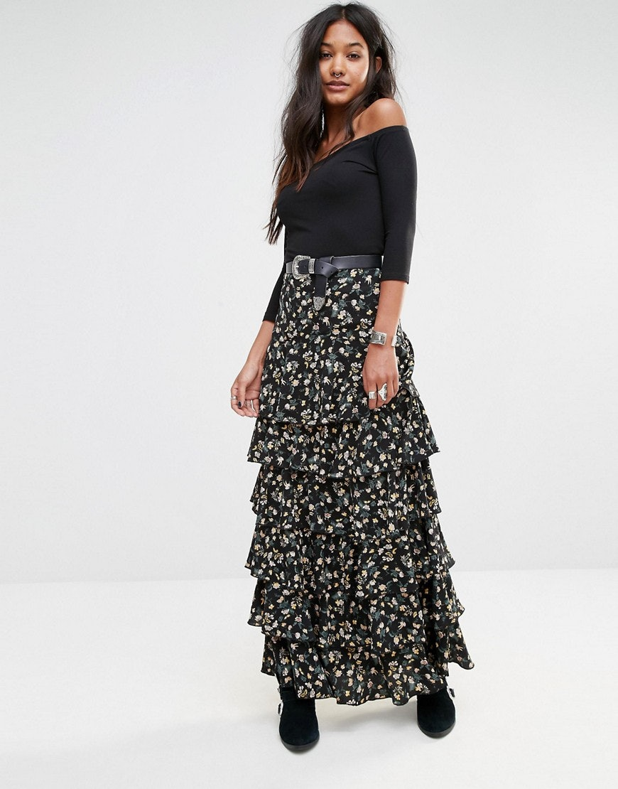 769a140708a Asos Midi Dress With Pleated Skirt In Floral Print