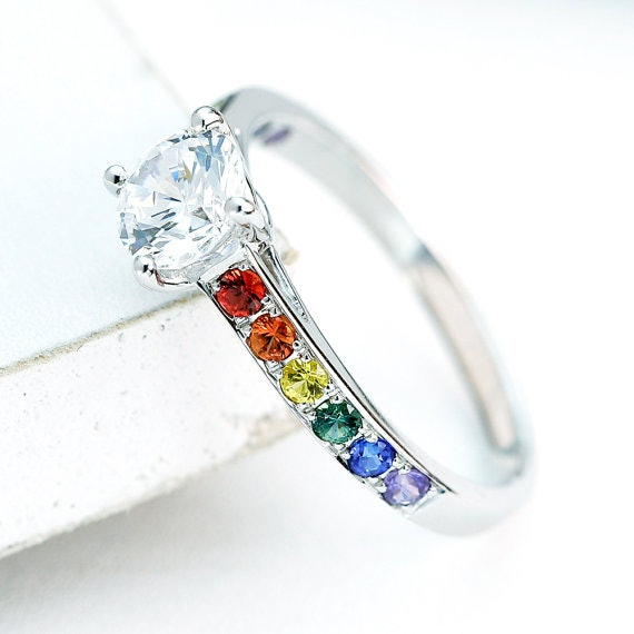 rings wholesale silver colour multi zircon engagement sterling jewelry rainbow ring crystal weinuo ret