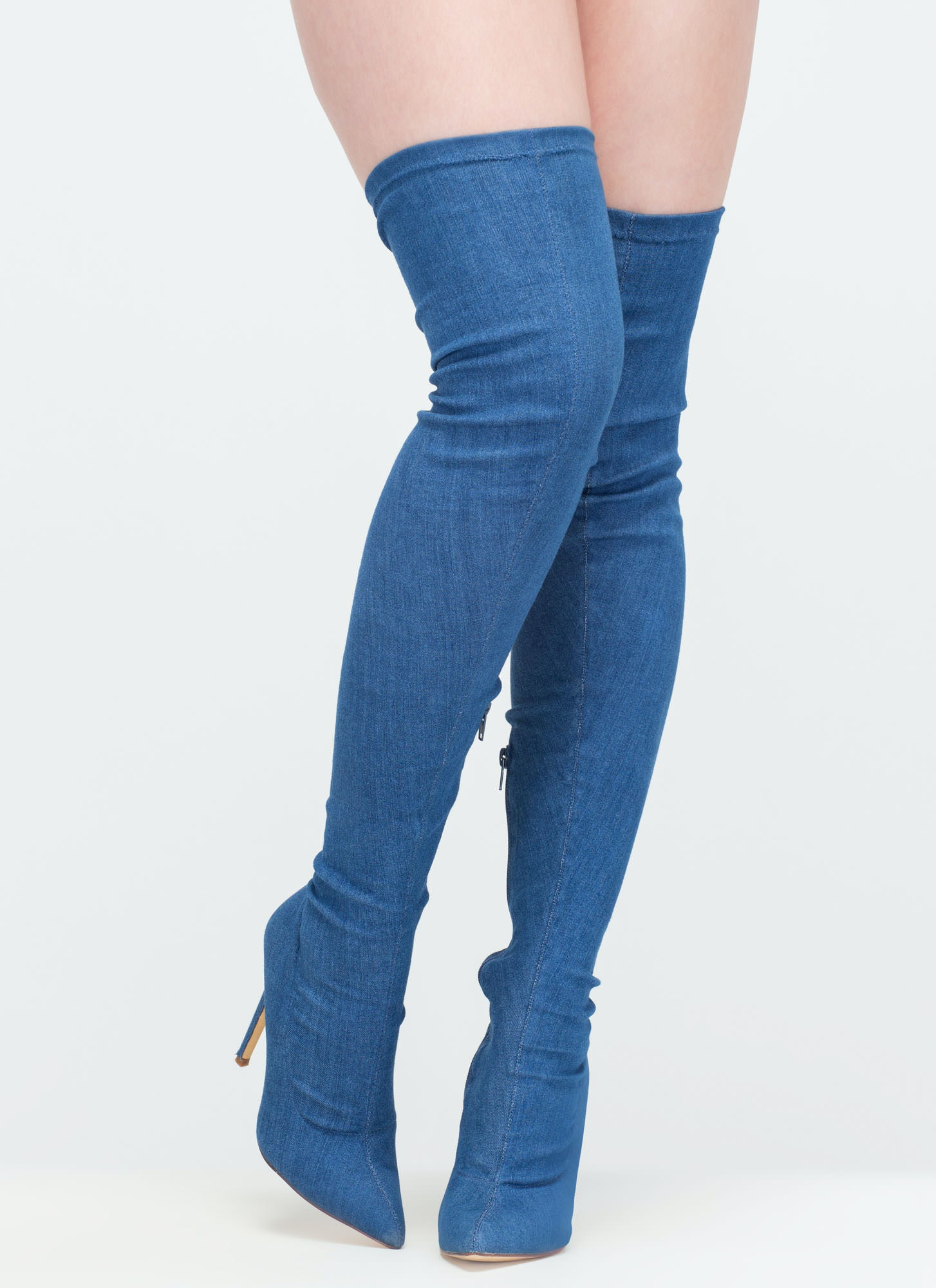 7a401ada14d Where To Buy Kim Kardashian s Thigh High Denim Boots Before Everyone Else  Has Them — PHOTOS