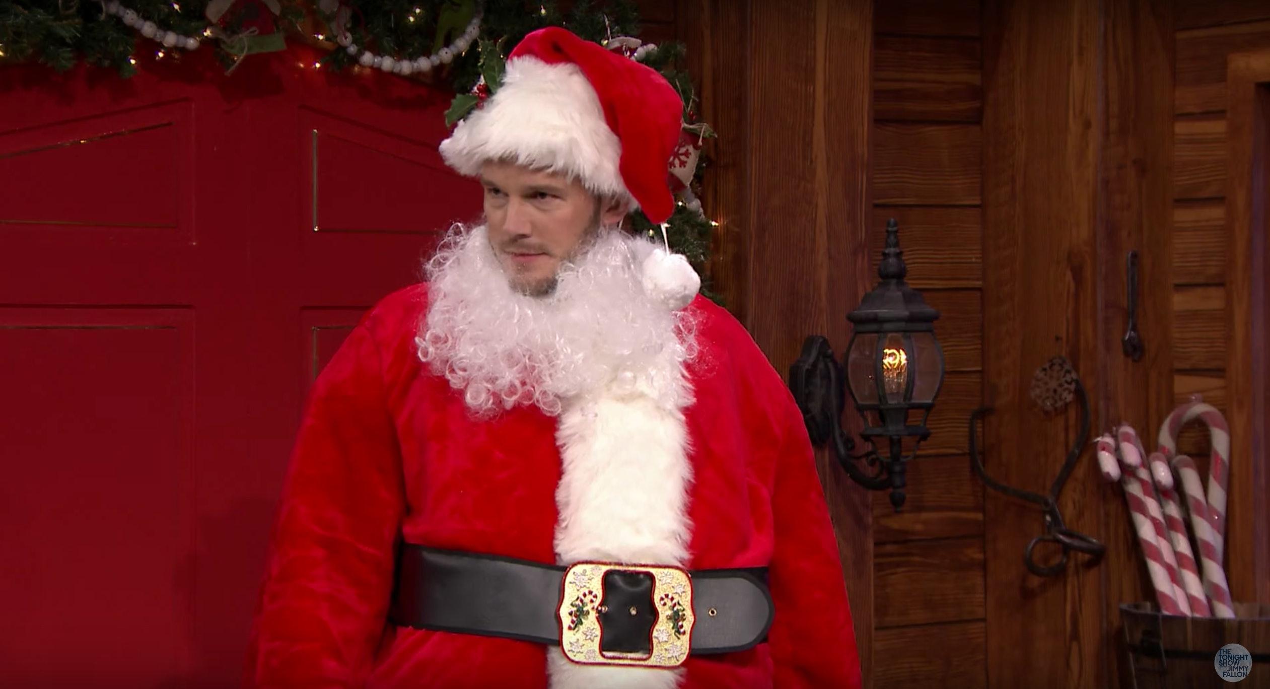 chris pratt dresses like santa claus to do christmas mad libs