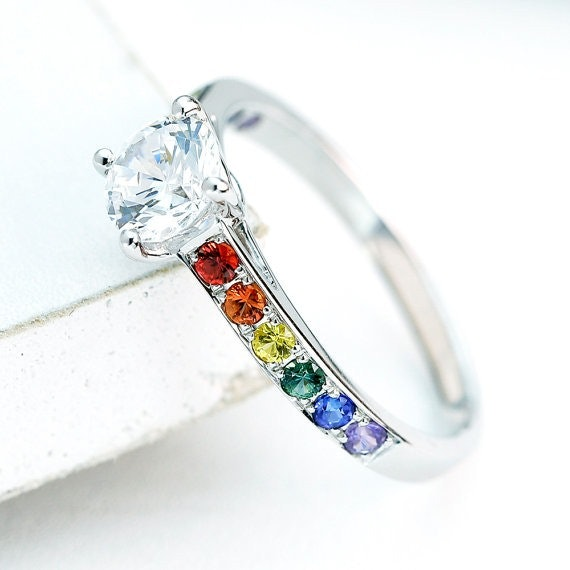 10 beautiful same sex wedding and engagement rings because marriage equality looks good - Rainbow Wedding Rings