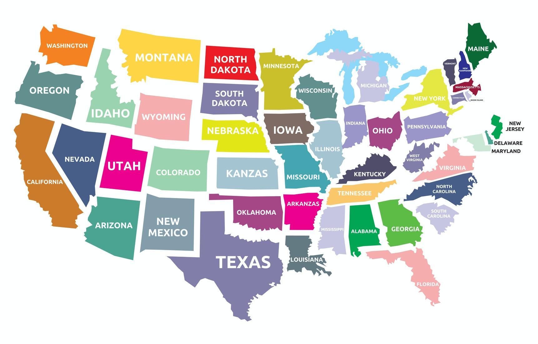 USA Time Zone Map With States With Cities With Clock With - Map showing us time zones