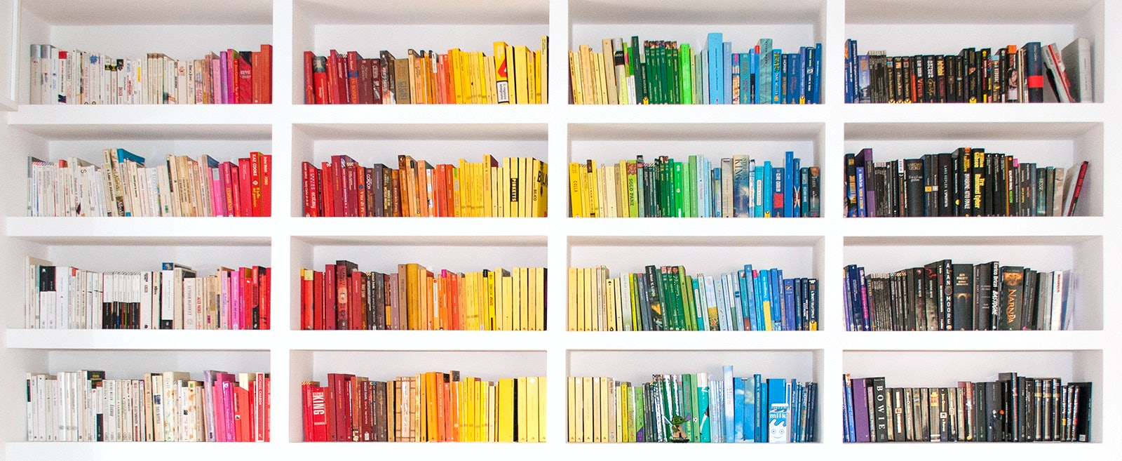 the 7 emotional stages of spring cleaning your bookshelf because the time has come - Color Code Book