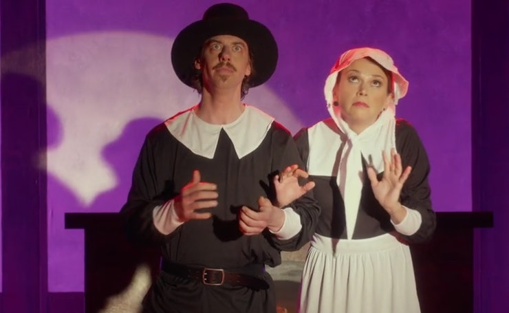 Christian Borle and Sutton Foster. They were actually married outside Miss Patty's stage.