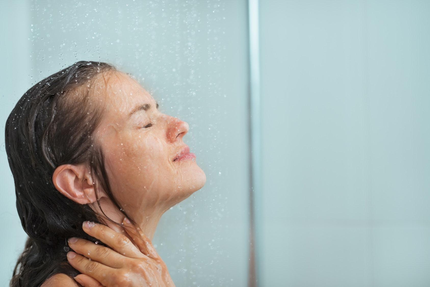 People taking shower together having sex