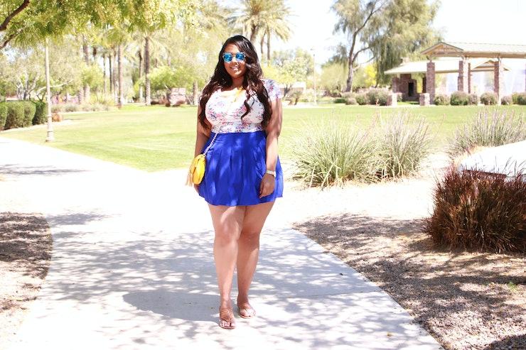 Beautiful Tribal Shorts White Blouse Curvy Thick Fat Plus Size Fashion