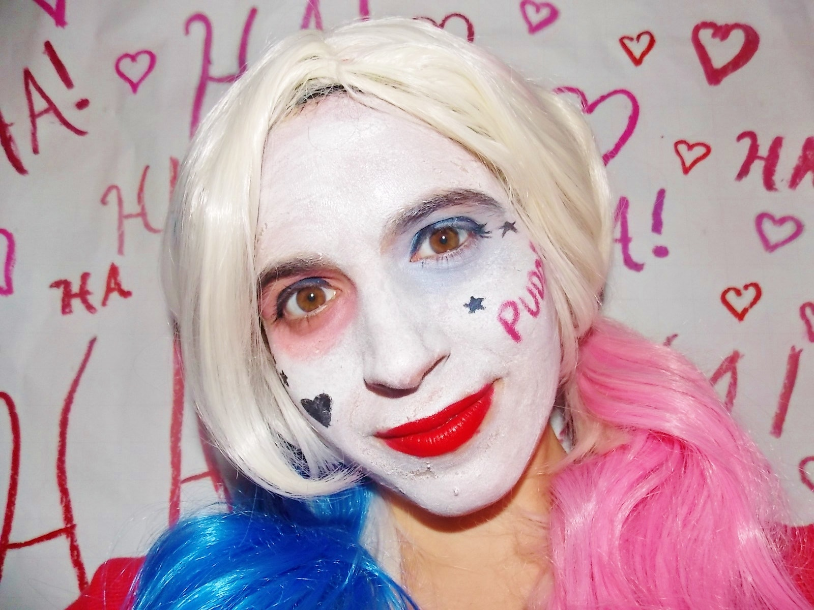 Make-up in style of Harley Quinn