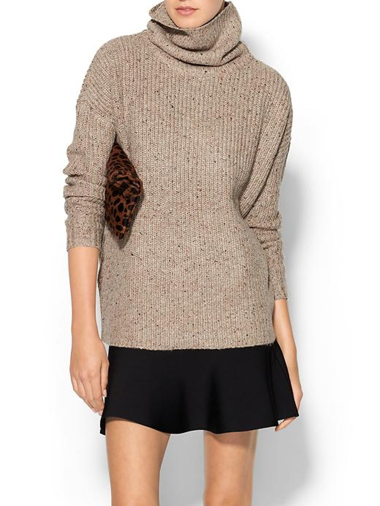 Six Cozy Sweaters for Fall Vince Cable Sweater – This sweater is so cozy and I love the slouchy fit. The color is the perfect compliment to any fall outfit – skirts, denim, work pants – anything.