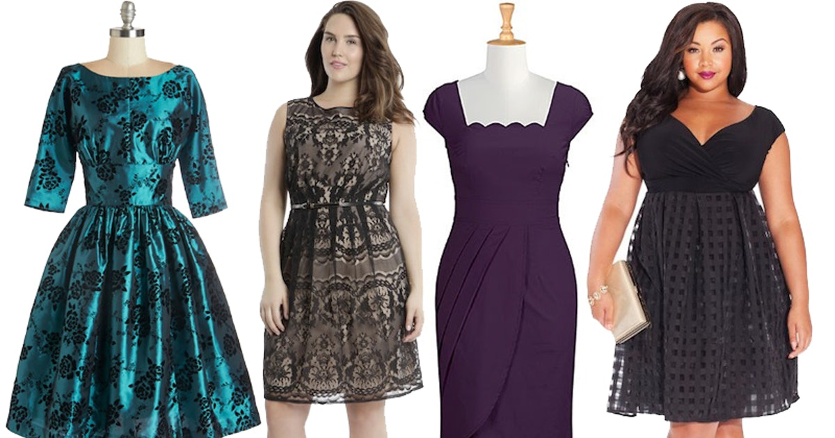 33 plus size wedding guest dresses for curvy ladies for Fall wedding dresses plus size