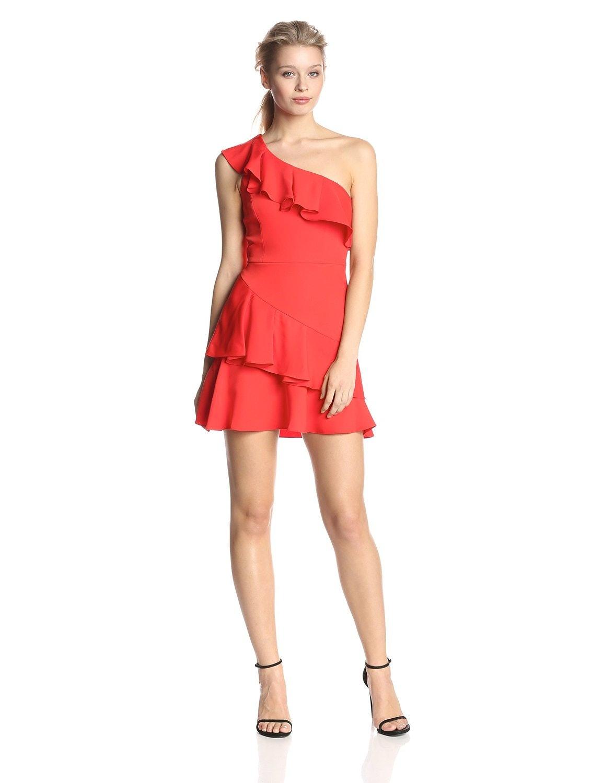 Red dress emoji costume near