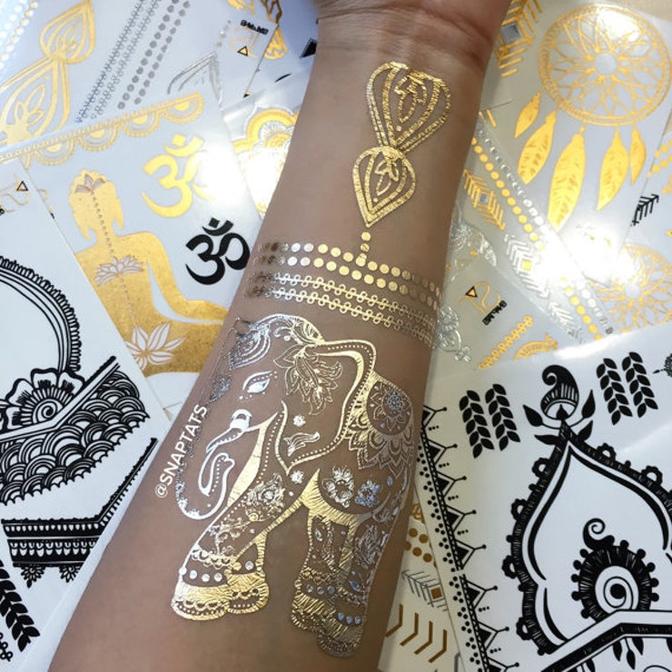 11 temporary tattoos that are the perfect alternatives for for Gold foil tattoo