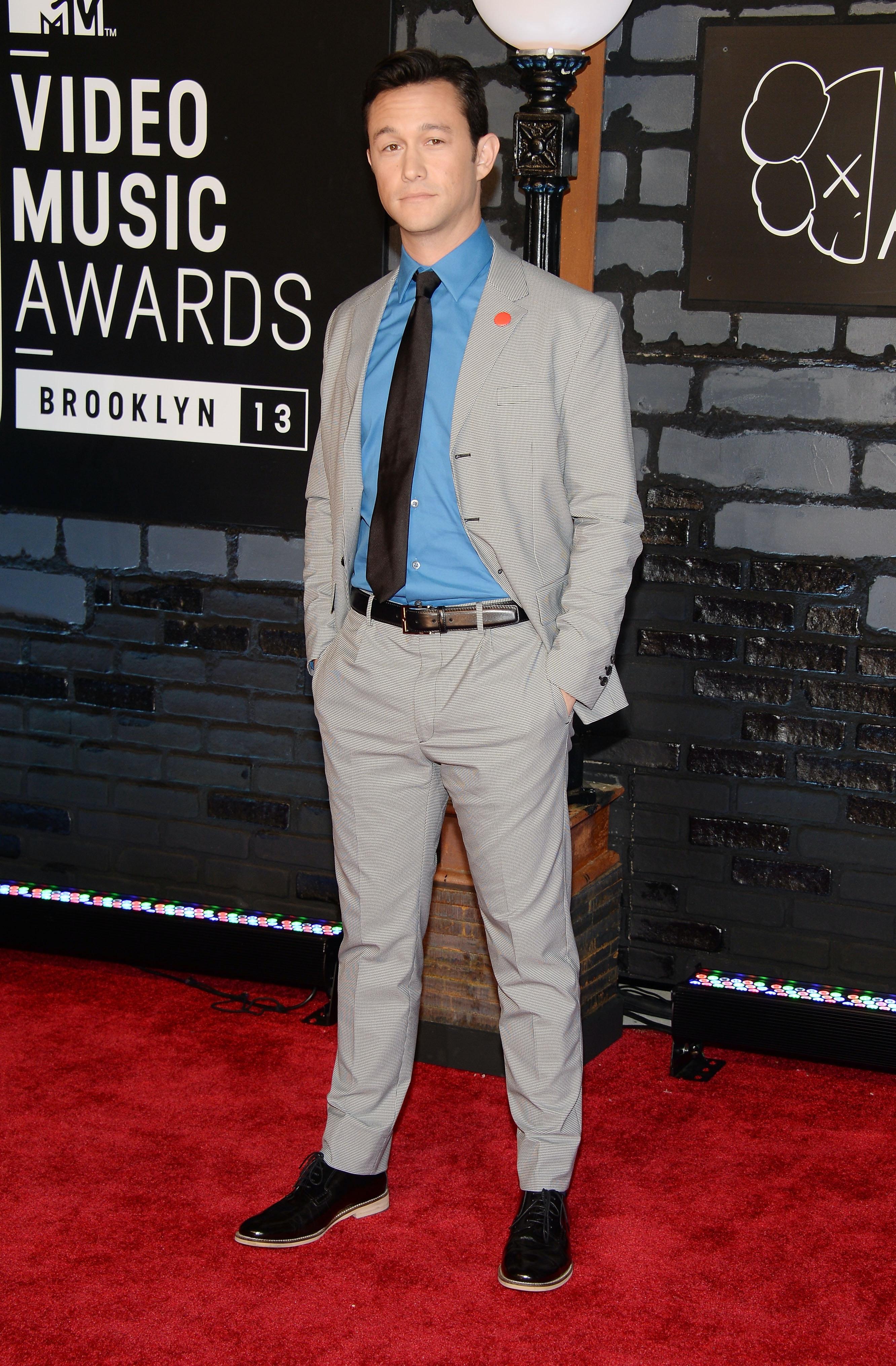 Blue suit black suede shoes