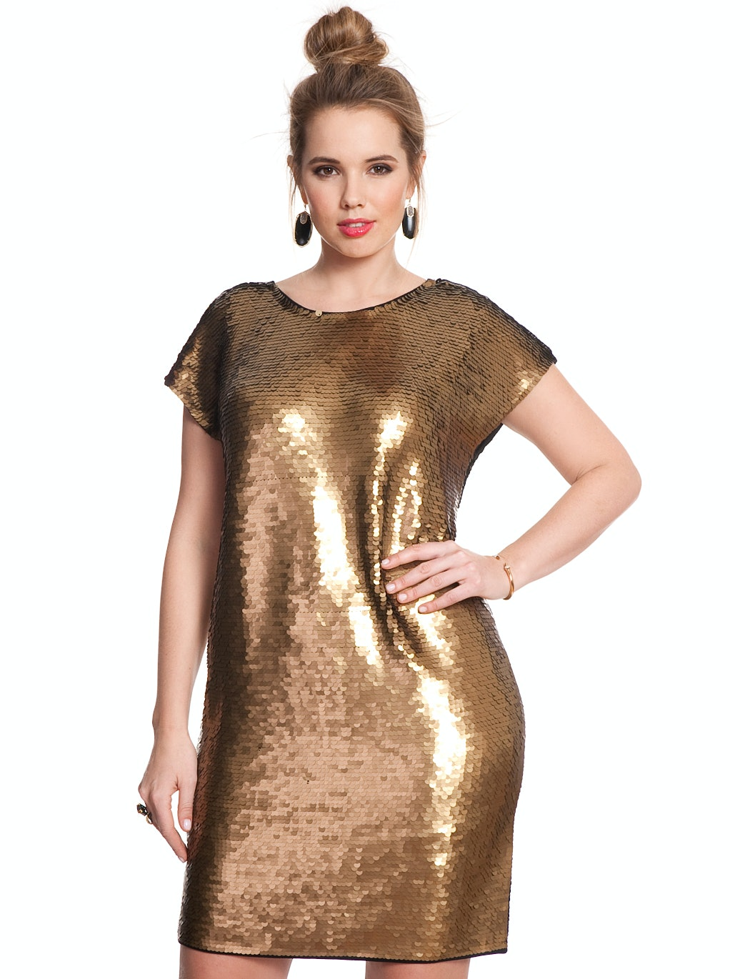 plus size gold sequin dress - Dress Yp