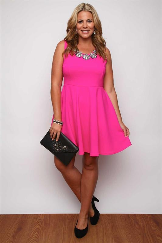hot pink plus size dress - Dress Yp