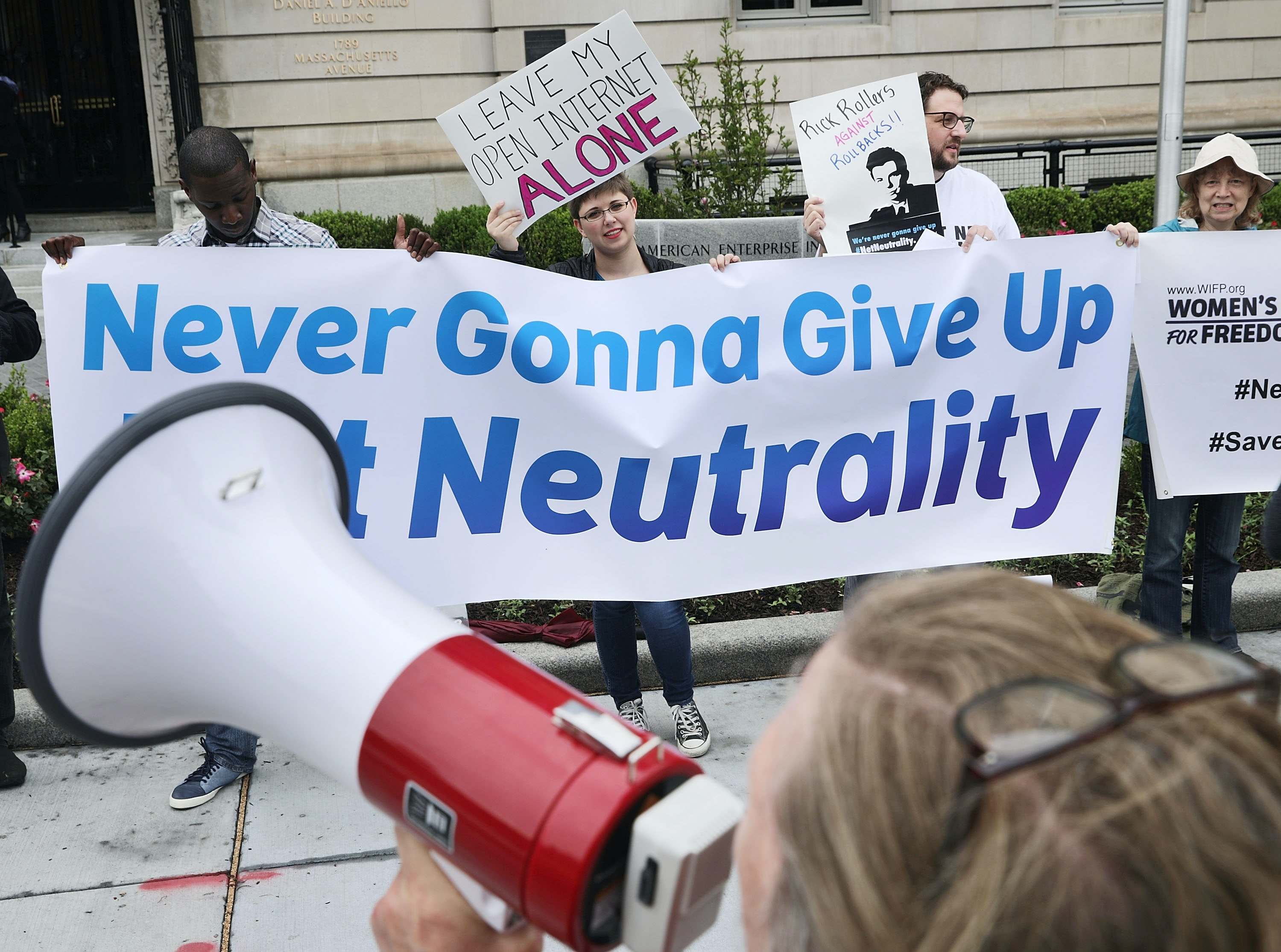 Protesters rally against net neutrality regulation rollback