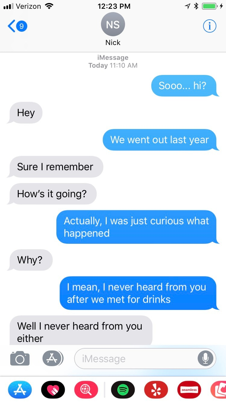 texting between first and second date