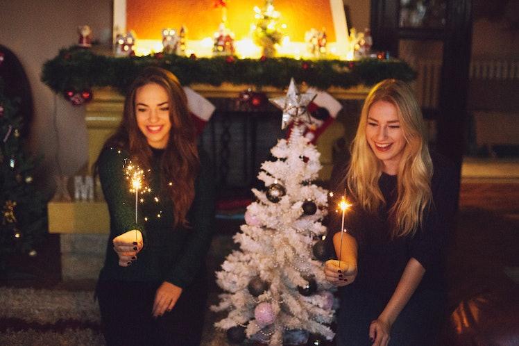 Putting Lights On Christmas Tree