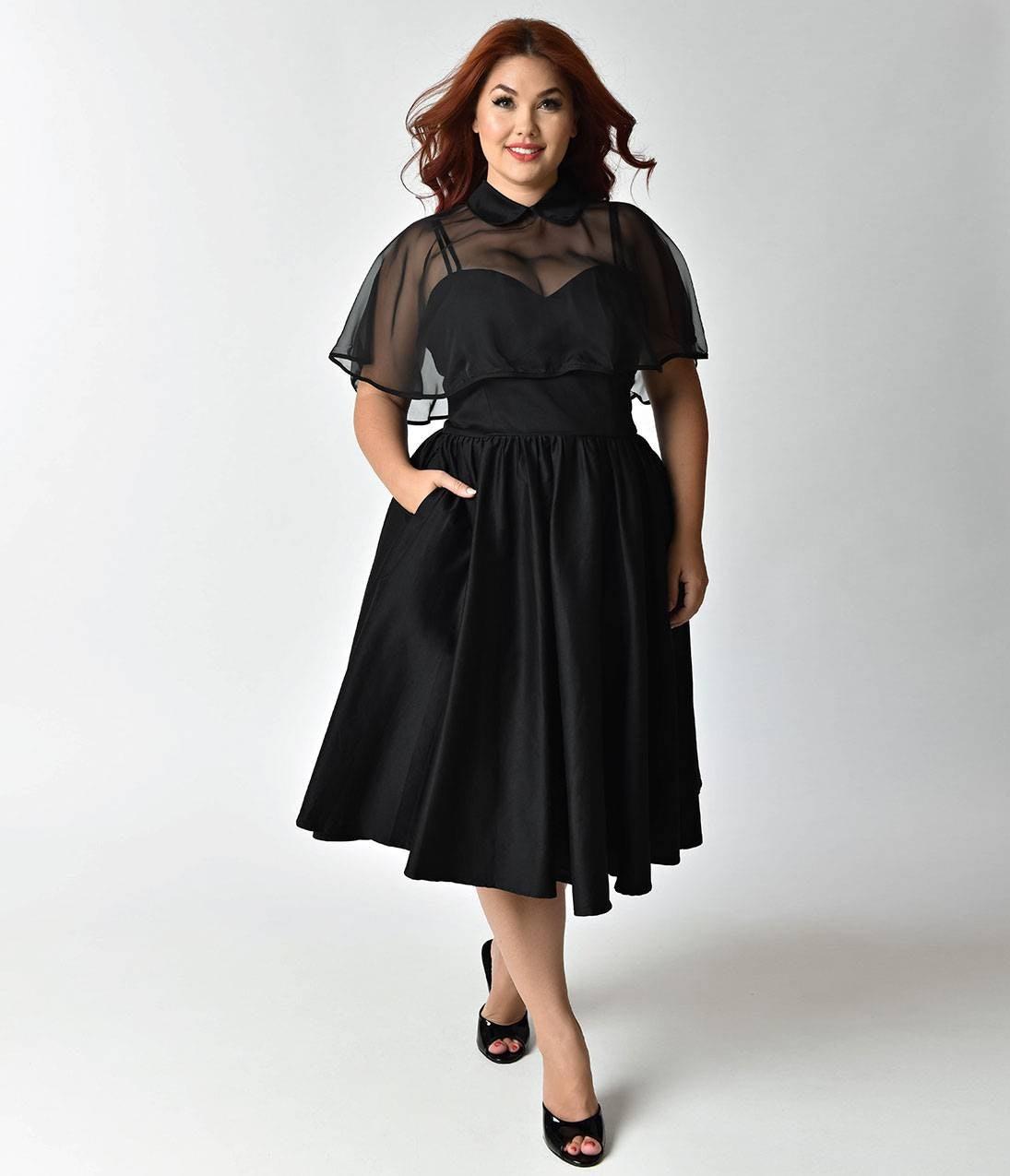 4b0ef1b0149ba Black Short Sleeve Mesh Peak Collar Skater Dress | Saddha