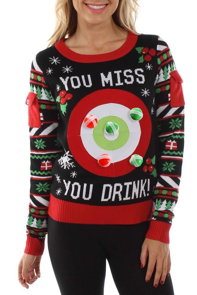 This Ugly Christmas Sweater Can Hide An Entire Bottle Of Wine, So ...